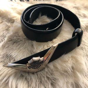 HARLEY-DAVIDSON Black Leather Belt Size XS